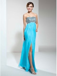 Empire Sweetheart Floor-Length Chiffon Sequined Prom Dress With Ruffle Beading Bow(s) Split Front (018022452) - JJsHouse Elsa