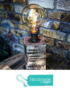 Large Chunky Table Lamp Handmade from Reclaimed Wood with Vintage Bulb from MooBoo Home https://www.amazon.co.uk/dp/B01LYMSOSU/ref=hnd_sw_r_pi_dp_AITmyb5V8KND6 #handmadeatamazon