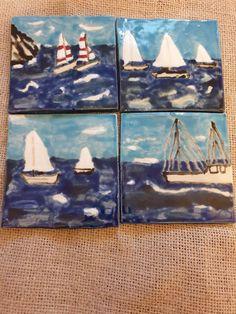Ceramic Coasters, Drink Coasters, Coaster Set, Stoneware, Original Artwork, Sailing, Hand Painted, Etsy Shop, Ceramics