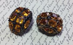 Ornate Amber Clip On Earrings Rhinestones Topaz Brass Antique Retro Glam Good Quality Jewelry Awesome! by MarveltyVintage on Etsy