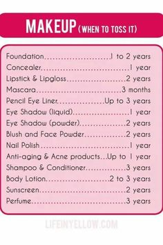 Very useful tips on how long your cosmetics last!