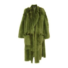 Rochas Oversized Fur Coat ($8,320) ❤ liked on Polyvore featuring outerwear, coats, rochas coat, oversized coat, green coat, rochas and calf length coat