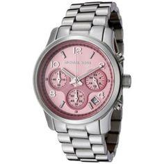 Michael Kors MK5198 Women's Chronograph Light Pink Dial Stainless Steel Watch.