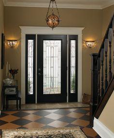 black doors with white trim Black Entry Doors, Entry Door With Sidelights, Black Interior Doors, Home Interior, Interior Design, Inside Front Doors, Front Door Trims, Glass Front Door, Front Entry
