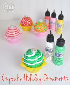 Cupcake Christmas Ornaments ~ Inspiration for my girls ornament making gathering this year ; Christmas Ornament Crafts, Christmas Candy, Holiday Ornaments, Holiday Crafts, Holiday Fun, Christmas Holidays, Christmas Ideas, Tween Craft, Crafts For Kids