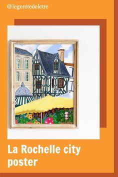 La Rochelle , flower market, La Rochel wall art, France travel art poster, small French city art City Illustration, Digital Illustration, La Rochelle France, Paris Wall Decor, City Poster, Paris Flat, Paris Gifts, Bicycle Art, Flower Market