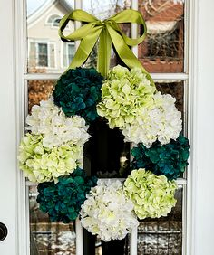 I love hydrangeas, and I won't have to water these!  Spring wreath ideas using hydrangeas in greens and blues and whites