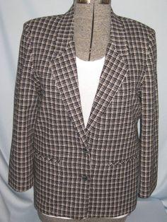 Norton McNaughton Woven Wool Blend Blazer Black White Plaid Lined Size 10 #CL85 #NortonMcNaughton #Blazer