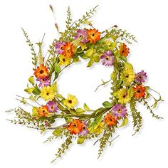 nice  Dimensions: 20 diam. x 4D in. Created from cloth, EVA, paper, and plastic This wreath features an assortment of bright flowers   https://www.silkyflowerstore.com/product/national-tree-company-20-in-flower-wreath/