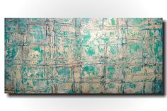 Original Large Abstract painting - 24 X 48 Inches-by Artist JMJartstudio-New Life-Wall art-wall decor - Turquoise painting-Oil painting