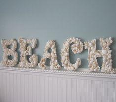Beach Decor Seashell Letters - Nautical Shell Letters Spell BEACH - White Shells