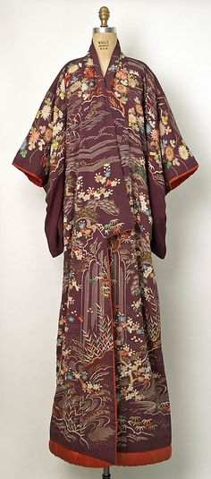 Vintage Kimono, 19th century, Japan - this looks like it may be a hikizuri, an extra-long kimono used for dancing. The padded hem allows the kimono to drag gracefully on the floor behind the dancer.