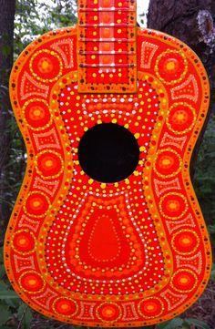 Orange Painted Ukulele Sunburst by BeesCuriosityShoppe