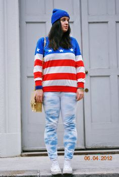 Discover this look wearing Spiked Beanie DIY Hats, Tie Dyed Zara Jeans, H&M Divided Bags tagged of july - Stars and stripes and DIY beanie + Giveaway by PeacockClouds styled for Everyday in the Spring Tie Dye Jeans, Diy Hat, Zara Jeans, Tie Dyed, Diy Gifts, Beanie, Stripes, Lifestyle, Stars