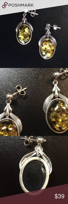 "🚨New Listing🚨 1 1/2"" Sterling & Amber Earrings These earrings hang 1 1/2"" long; pierced Sterling Silver amber earrings; 925 stamped (pic 3); Jewelry Earrings"