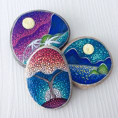 Big Dot Art Sunrise Painted stone painted rock Fairy garden
