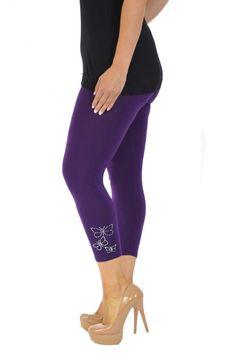 Embellished Butterfly Foil Cropped Leggings - Purple Plus Size Leggings, Size Clothing, Plus Size Outfits, Capri Pants, Large Size Clothing, Capri Trousers, Plus Size Fashions, Plus Size Clothing, Plus Size Dresses