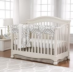 Easton Gray and Taupe Crib Bedding with Linen Skirt by Liz and Roo. Gender Neutral Baby Bedding.
