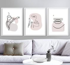 """""""Line Art Woman One Line Lips Print Face Art Set of 3 Prints Fashion Poster Pink Wall Art Line Drawin Photos Comments """" 3 Piece Wall Art, Wall Art Sets, Minimal Art, Minimal Poster, Mode Poster, Pink Wall Art, Living Room Art, Art For Bedroom, Bedroom Drawing"""