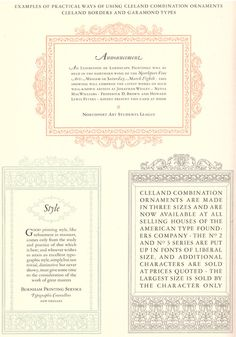 Beautiful type ornaments from A Showing of Cleland Ornaments & Borders from the American Type Founders Company. T.M. Cleland began working with the company in 1917 and designed all of their ornaments and borders, resulting in the popularization of French Renaissance graphics in the first half of the 20th century.  Newberry call number: Wing folio Z250.3 .A64 1920 http://vufind.carli.illinois.edu/vf-nby/Record/nby_878656