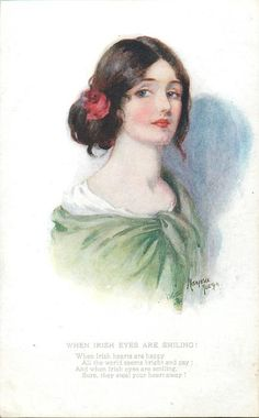 woman in green dress, faces slightly right & looks front