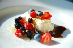 Burrata with Garden & Wild Berries, Honey, Balsamic and Fresh Ground Pepper, a recipe on Food52