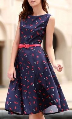 Vintage Jewel Neck Sleeveless Cherry Print Flare Dress For Women