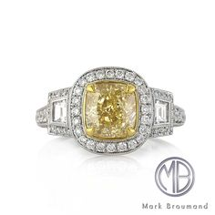 Markbroumand.com #3256-1  http://www.markbroumand.com/3.32ct-fancy-yellow-cushion-cut-diamond-engagement-anniversary-ring-3146-1d17739715/