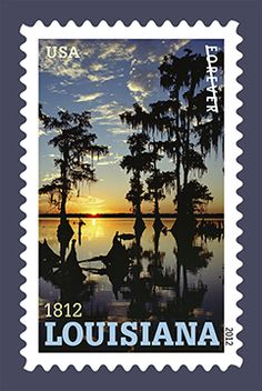 C. C. Lockwood photo on U. S. postage stamp commemorating the Bicentennial of Louisiana Statehood