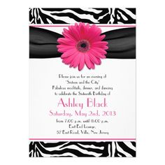 Hot pink paired with black and white zebra print for a sweet 16 birthday party. You can use this pink gerber daisy black and white zebra print sweet 16 invitation as your party invitation. Gerbera daisies are a perfect flower to use for hot pink. #birthday #invitations #sweet16