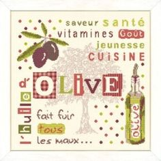 L'huile d'olive - Lilipoints Olives, Kit, Le Point, Cross Stitching, Chart, Embroidery, Gallery, Drawings, Couture