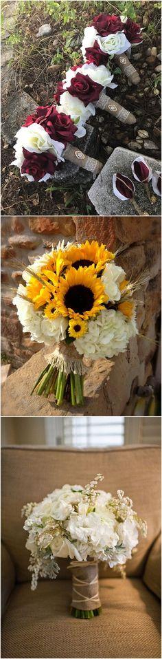 Rustic Country Swoon-Worthy Burlap Wedding Bouquets #weddings #rusticweddings #countryweddings http://www.rosesandrings.com/burlap-wedding-bouquets/