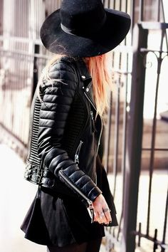 Great Leather Jacket. Black & Black. Big Hat. Slim. Fancy. Fashion. Women. Clothing. Color. Hair. Details. Jewelery. Zippers. Silver. Metallic. Skirt. Biker. Attitude.