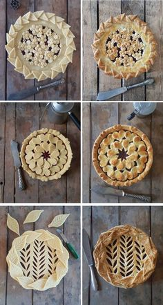 Indulge in these perfect pies by food artist Karin Pfeiff Boschek.#pieart #piecrust #piecrustart