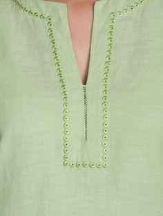 Green Embroidered V Neck Cotton-Linen Kurta Salwar Neck Designs, Churidar Designs, Kurta Neck Design, Neck Designs For Suits, Neckline Designs, Kurta Designs Women, Dress Neck Designs, Blouse Designs, Gharara Designs