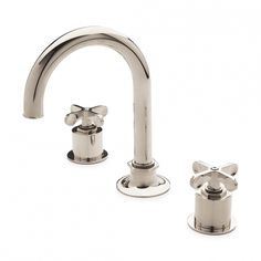 Waterworks - Henry+Gooseneck+Three+Hole+Deck+Mounted+Lavatory+Faucet+with+Metal+Cross+Handles