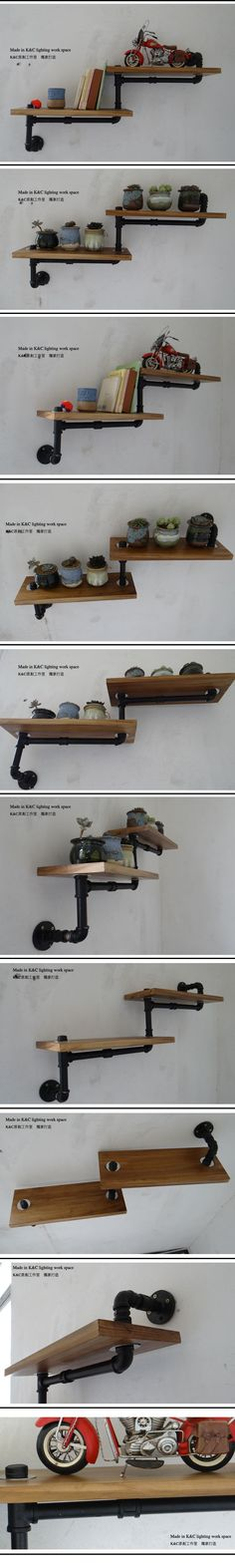Steam punk kitty walk up!!!!! Kc loft iron water pipe bookshelf wood flower shelf furniture-inOther Home Improvement from Home Improvement on Aliexpress.com