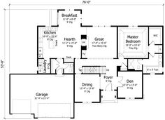 First Floor Plan of Colonial   Cottage   Country   Craftsman   European   Traditional   House Plan 42561