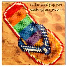 Magnet perler bead flip-flop made by Jodie Miller