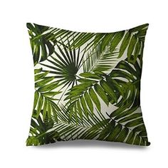 Popeven Leaves Pillow Sham for Bed Swaying Palm Decorative Pillow Cover Canvas Tropical Green Travel Beach Pillow Case 18 x 18 Inch Standard Size Zippered Pillowcase