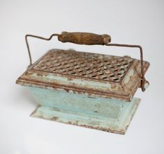 antique foot warmer, cast iron hot coal carriage heater, aqua, industrial decor…