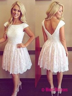 White Homecoming Dress,Lace Homecoming Gown,Tulle Homecoming Gowns,Ball Gown Party Dress,Short Prom Dresses,Lace Formal Dress For Teens PD20183954