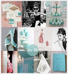 UGH LOVE!!!  THIS WOULD BE A PERFECT THEME FOR A SHOWER OR BACHELORETTE PARTY!!    Mood Board #55: Breakfast at Tiffany's   (Tiffany blue, Tiffany-inspired wedding)