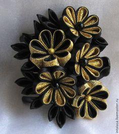 """Краб для волос """"Черное с золотом"""" - чёрный,золотой цвет,канзаши,краб с канзаши"""