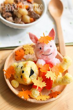 Bento, Monsters: Pooh Bear & Piglet in Autumn