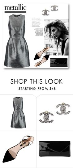 """metallics"" by dezaval ❤ liked on Polyvore featuring Iris & Ink, Chanel, L.K.Bennett and metallicdress"