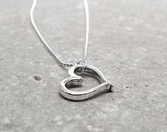 Valentines Day Necklace Heart Sterling Silver by GirlBurkeStudios, $40.00