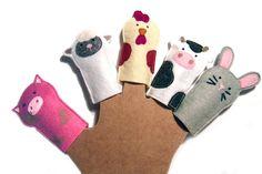 """Patron """"Les marionnettes à doigts à la ferme"""" à réaliser en feutrine : Kits, tutoriels Couture par margote-picote"""