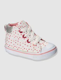 Baskets toile bébé fille Blanc imprimé coeur+Chambray+rouge rayé - vertbaudet enfant