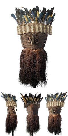 Africa   Mask from the Binji people of DR Congo; woven raffia, bird beak, feathers and natural fiber   Worn by young make initiates.